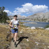Karen running Selden Pass in the Eastern Sierra