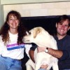 Morgan and me with our dog in our new house, late 1995, when I was 26 and he had just turned 29.