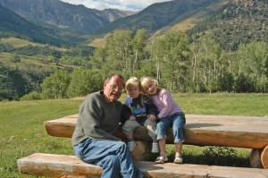 My dad with my son and daughter ten years ago in Telluride.