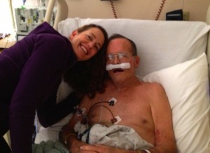 Saying goodbye to Dad in the hospital on Feb. 12.