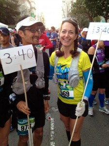 Mark Tanaka and me at the start of the Oakland Marathon on March 24, getting ready to lead the 3:40 pace group.