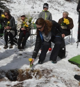 We each put a yellow rose in the grave because he gave my mom yellow roses on each of their 55 anniversaries.
