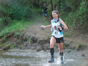 Running through one of the six creek crossings (thanks Noé Castañón for the photo).