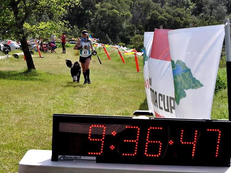Finishing the Lake Sonoma 50 with my dog (thanks Shelley Miller Mitchell for the photo).