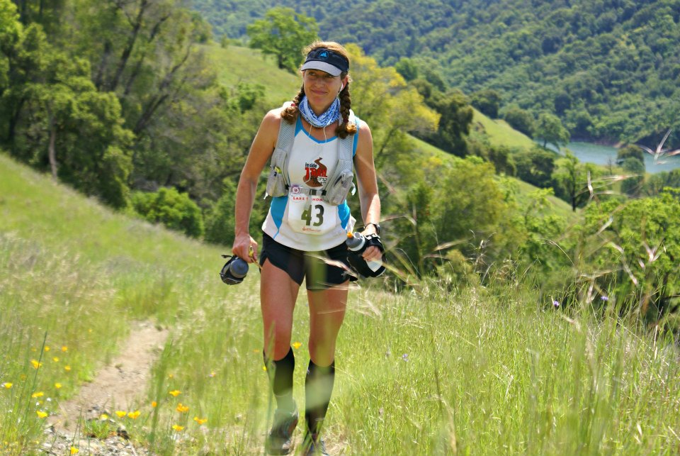 See the purple iPod on my front strap and the ear buds? I don't always run with music, but it helped me on uphills like this. (Photo by Maria Sharoglazoa.)