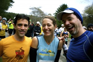 Scott Dunlap, on the right, with me and our fellow Inside Trail racing team member Gary Gellin at a 50K in 2011.