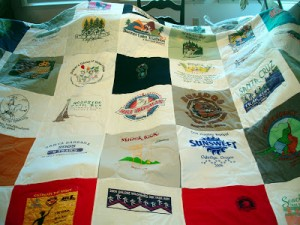 One of Scott's quilts made from race shirts.