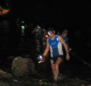 Scott crossing the river in the 2009 Western States 100.