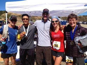 Some of the characters at the finish line: Tim Roush, Mark Tanaka, ITR Race Director Tim Stahler, me and Clare Abram