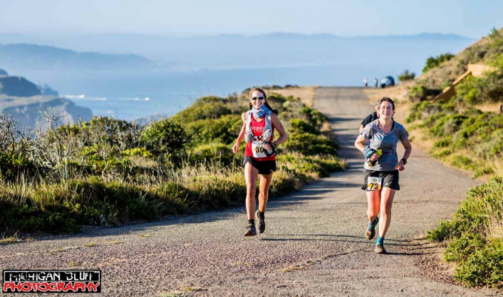 Enjoying the miles with Clare Abram on the climb out of Rodeo Beach to Wolf Ridge (photo by Myles Smith).