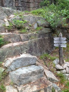 One of the real trails leading from the carriage roads, which begin as steps cut into the granite hillsides.