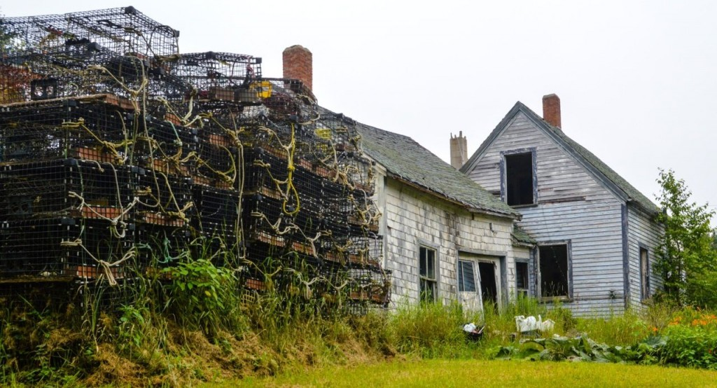 house with lobster traps