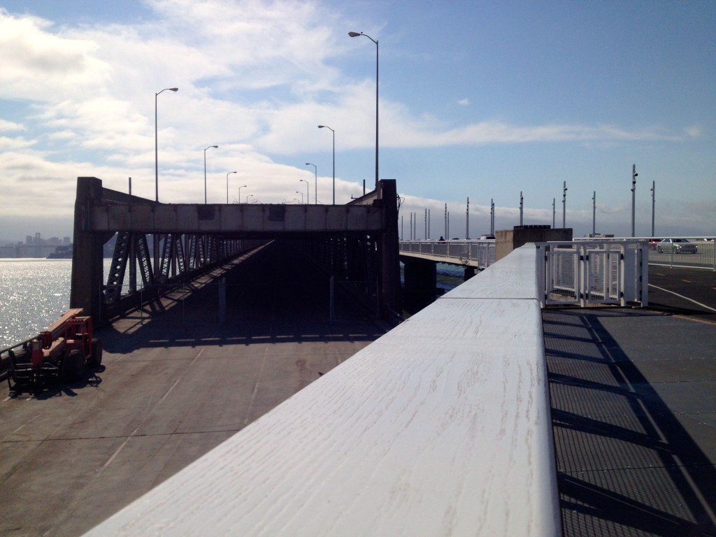 At Mile 2, the old bridge stops abruptly in front of the new ramp to the new bridge.