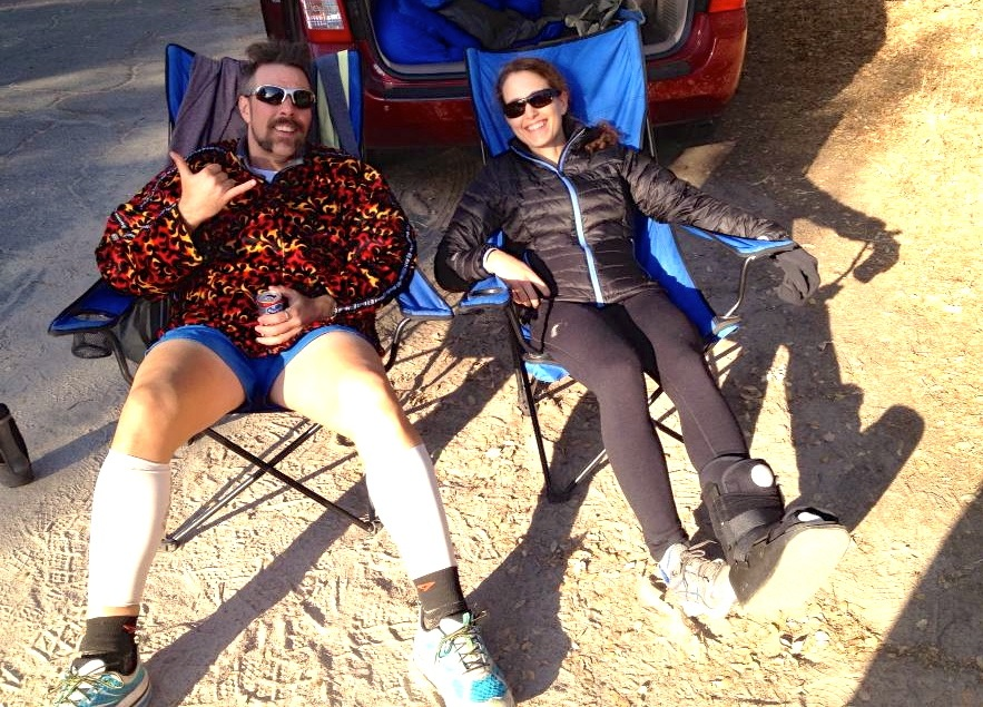 Hanging out with my buddy Ken Michal while injured at last year's Rio Del Lago 100, which I plan to run this weekend.