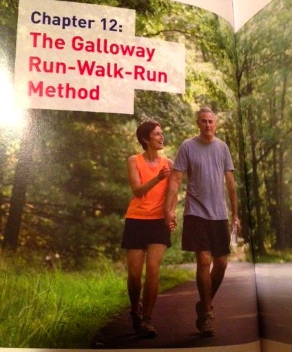 Don't you often hold hands with your running partner? This is page 58 of Galloway's book on walking in the park ... I mean, on trail running.