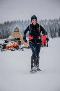 On her way to winning the Ice Ultra, most of which was run on snowshoes.