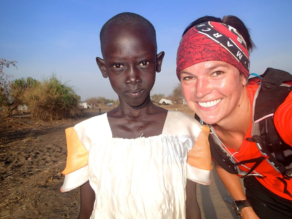Stephanie with a girl who started running with her on a run.