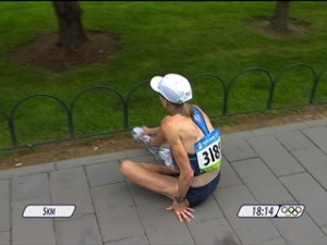 Deena Kastor injured during the 2008 Olympic Marathon.