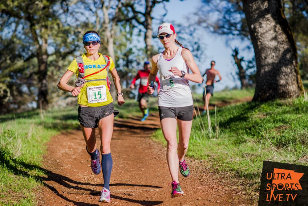 At the 2014 Way Too Cool 50K, Magda finished first and Caitlin finished 2nd. (photo by UltraSportsLive.TV)
