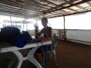Stephanie working in Mingkaman, South Sudan.