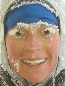 Stephanie earlier this year, after a training run for the Ice Ultra.