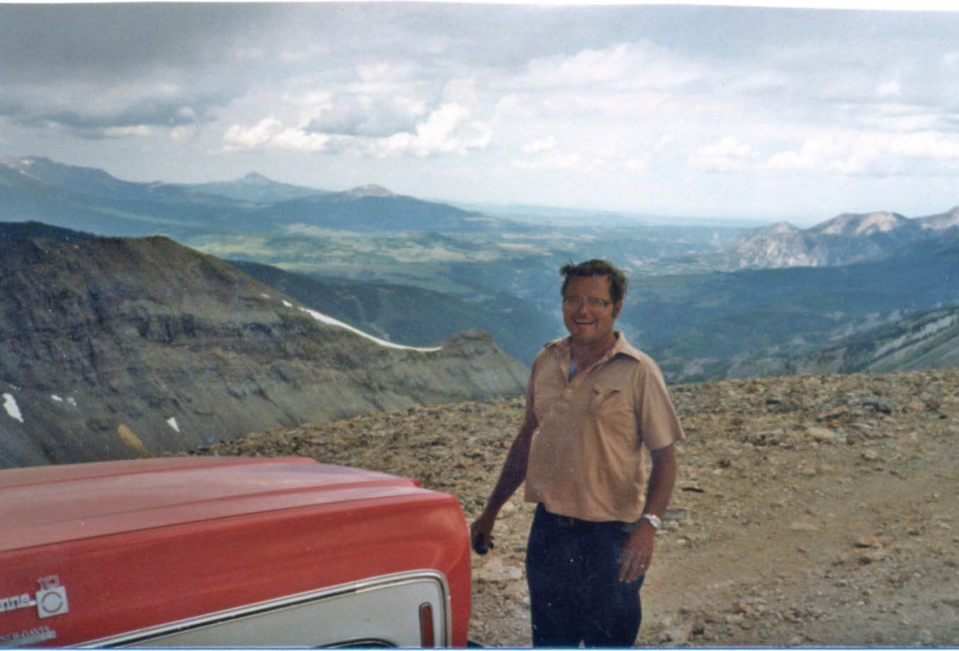 Dad next to Big Red on Imogene, sometime in the late 1970s.