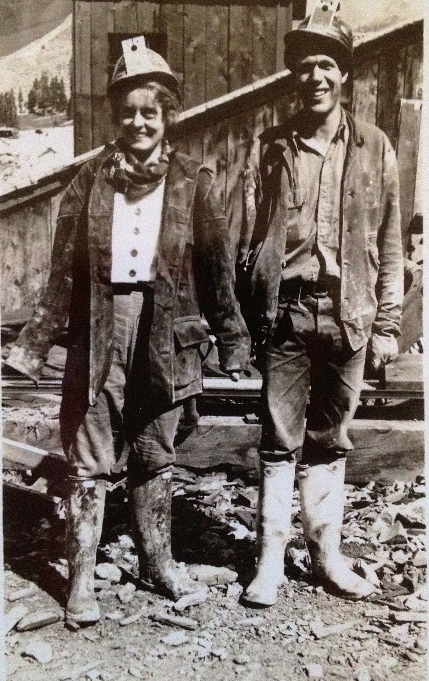 My grandparents outside Camp Bird Mine, 1932.