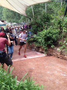 Kilian Jornet leaving the Telluride Aid Station. He was the eventual winner and broke the course record by 40 minutes, finishing in 22:41.
