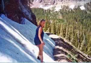 My mom in her mid-40s, around my age now, hiking Tomboy Road above Telluride.