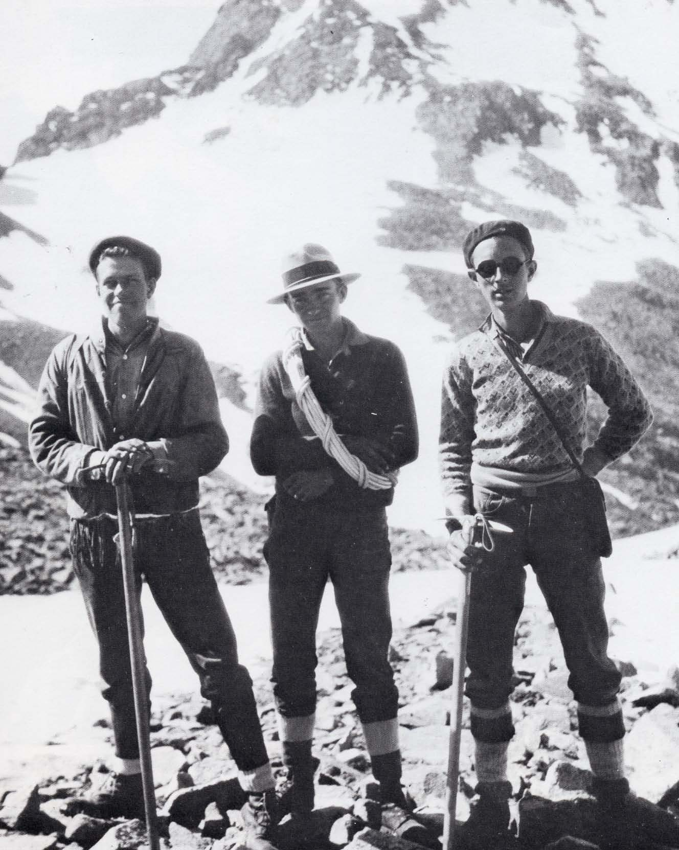 Dwight Lavender on the left with his friends Chester Price and Forrest Greenfield in 1930 after a successful ascent of El Diente (14,159 feet). Dwight and Chester organized the San Juan Mountaineers.