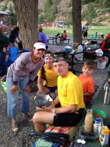 The Graubins crew in Ouray: Holly, pacer Eric, Garett, son Sawyer