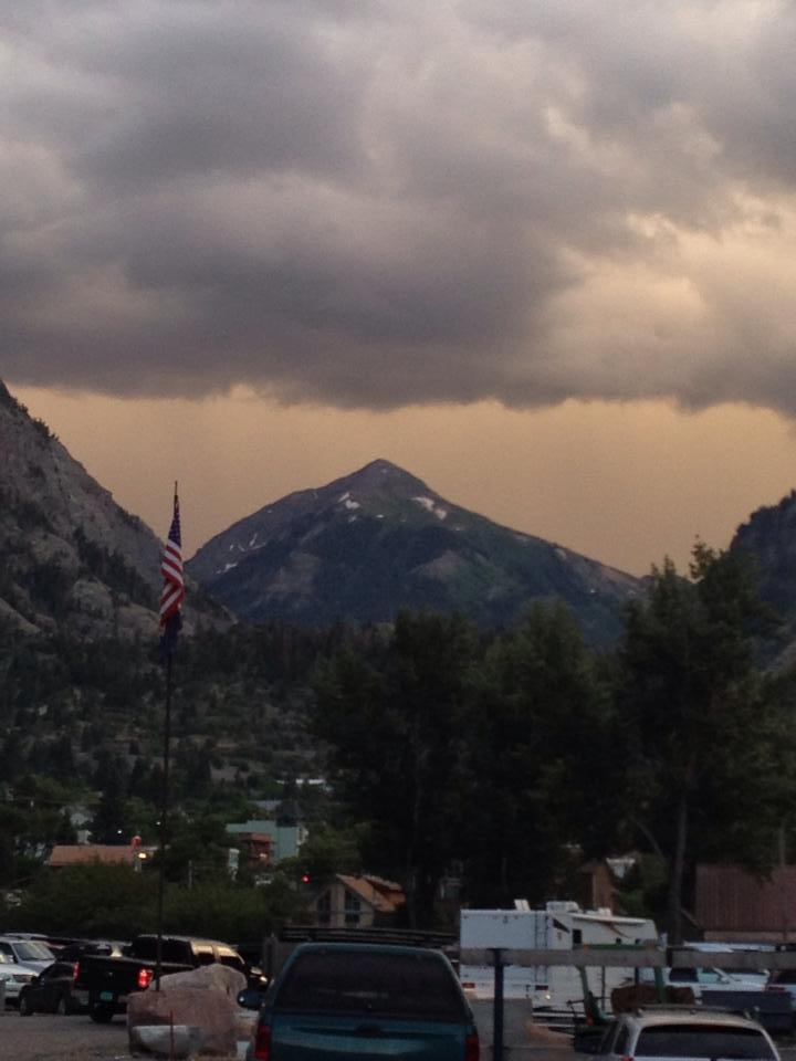 The storm gathering above Ouray at nightfall, Friday night of the Hardrock 100.
