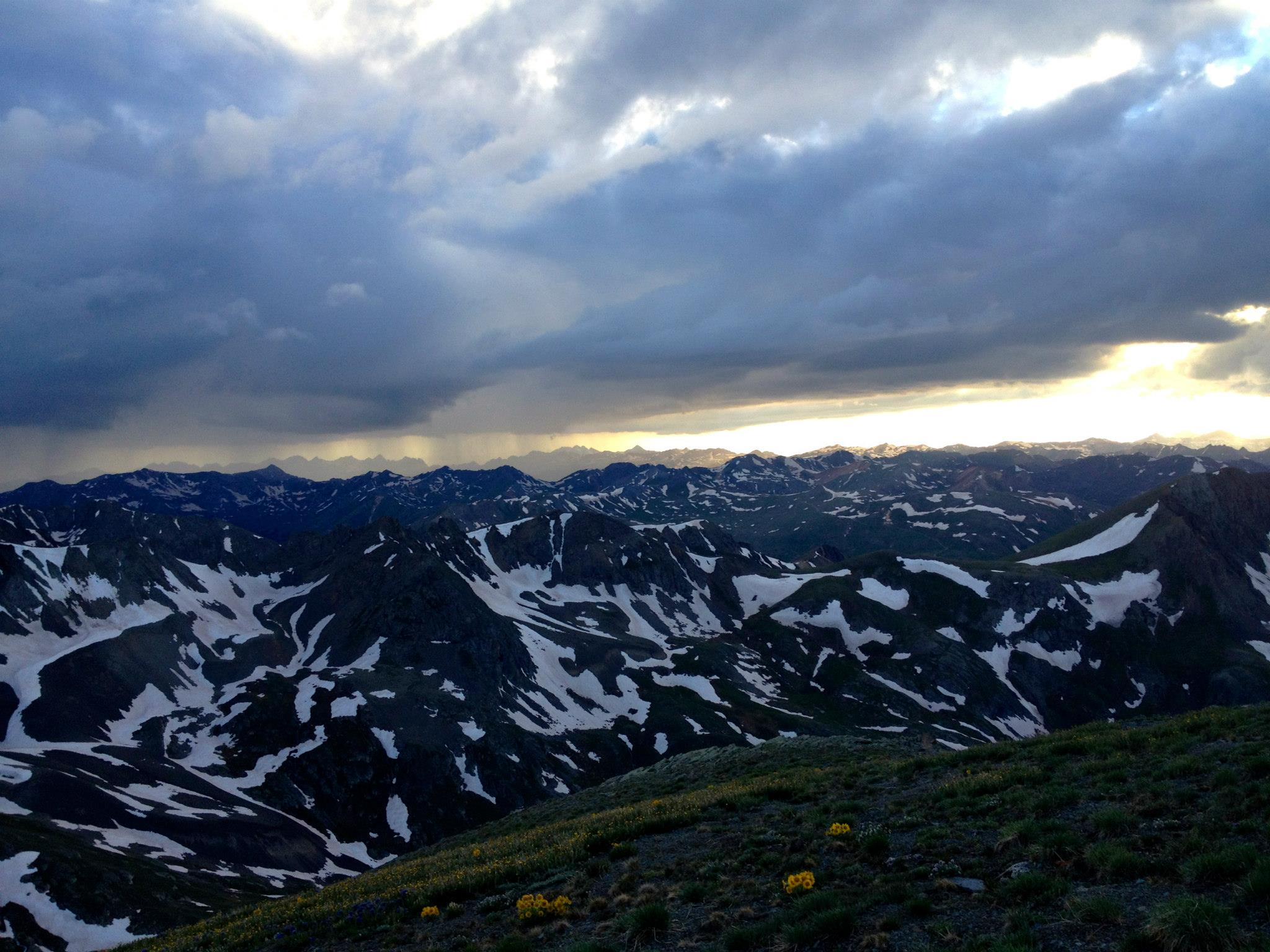 A view from the top of Handies Peak at sunset courtesy iRunFar's Facebook album, by Ryan Krol & Liz Sasserman