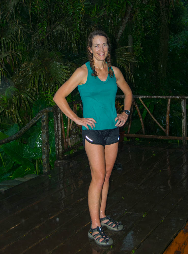 I was soaking wet after running in the rainforest surrounding the lodge.