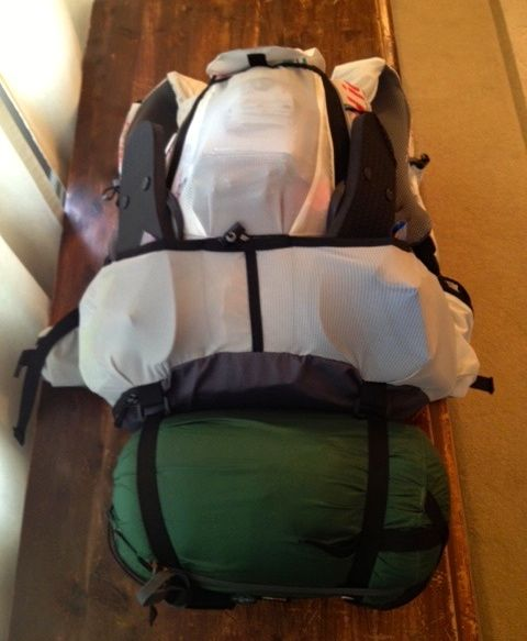 My pack fully loaded, with compression sack at base holding sleeping bag and down jacket.