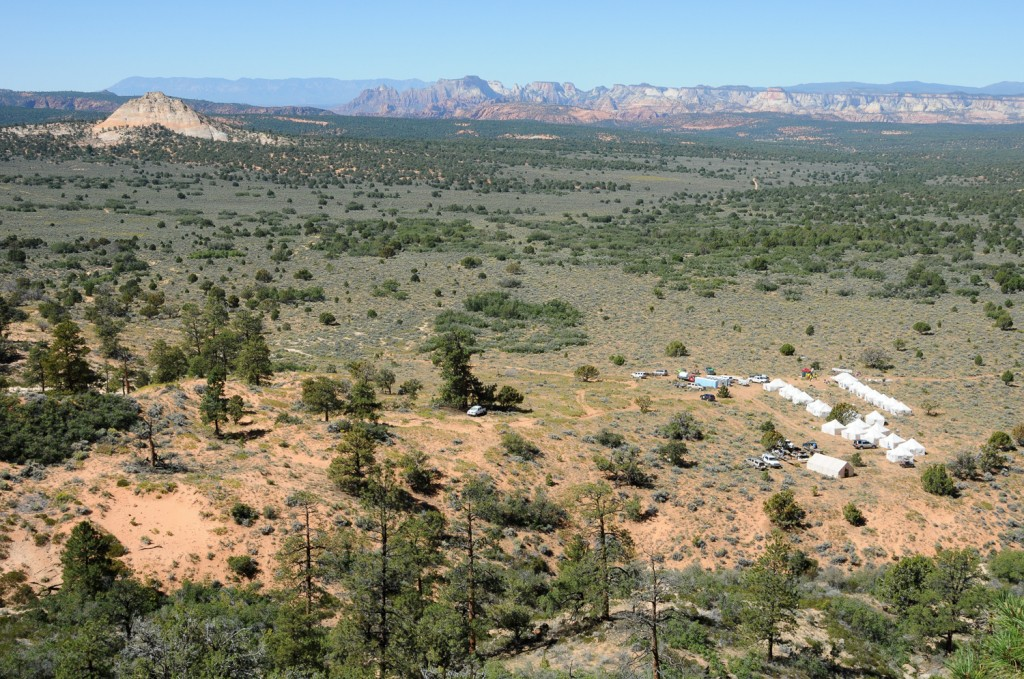 The view of Camp 2 from above, showing the terrain we ran across. Photo courtesy of Grand to Grand Ultra.