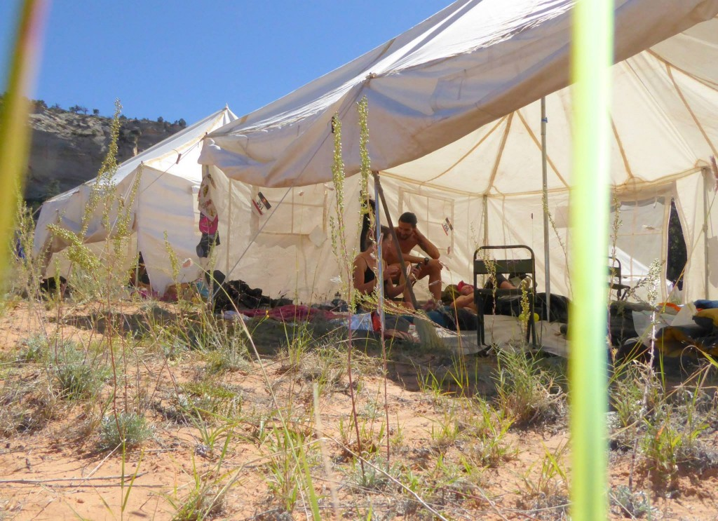 Hanging out in the tent at Camp 3. Photo by Simon Dodd