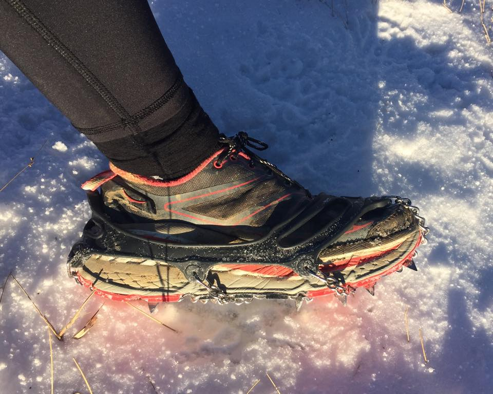 My Kahtoola Microspikes on my Hokas—a great combo!