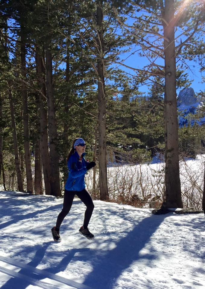 A snowy run last week by Lake Mary above Mammoth Lakes.