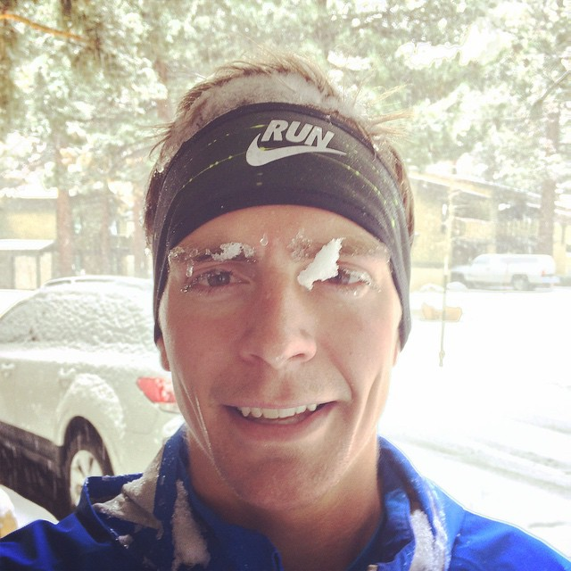 Tim Tollefson after a wintery Mammoth run last month.
