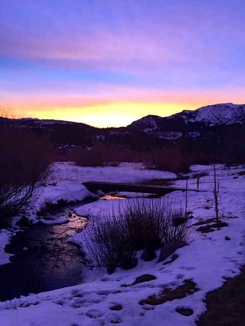The sunset outside our condo in Mammoth.
