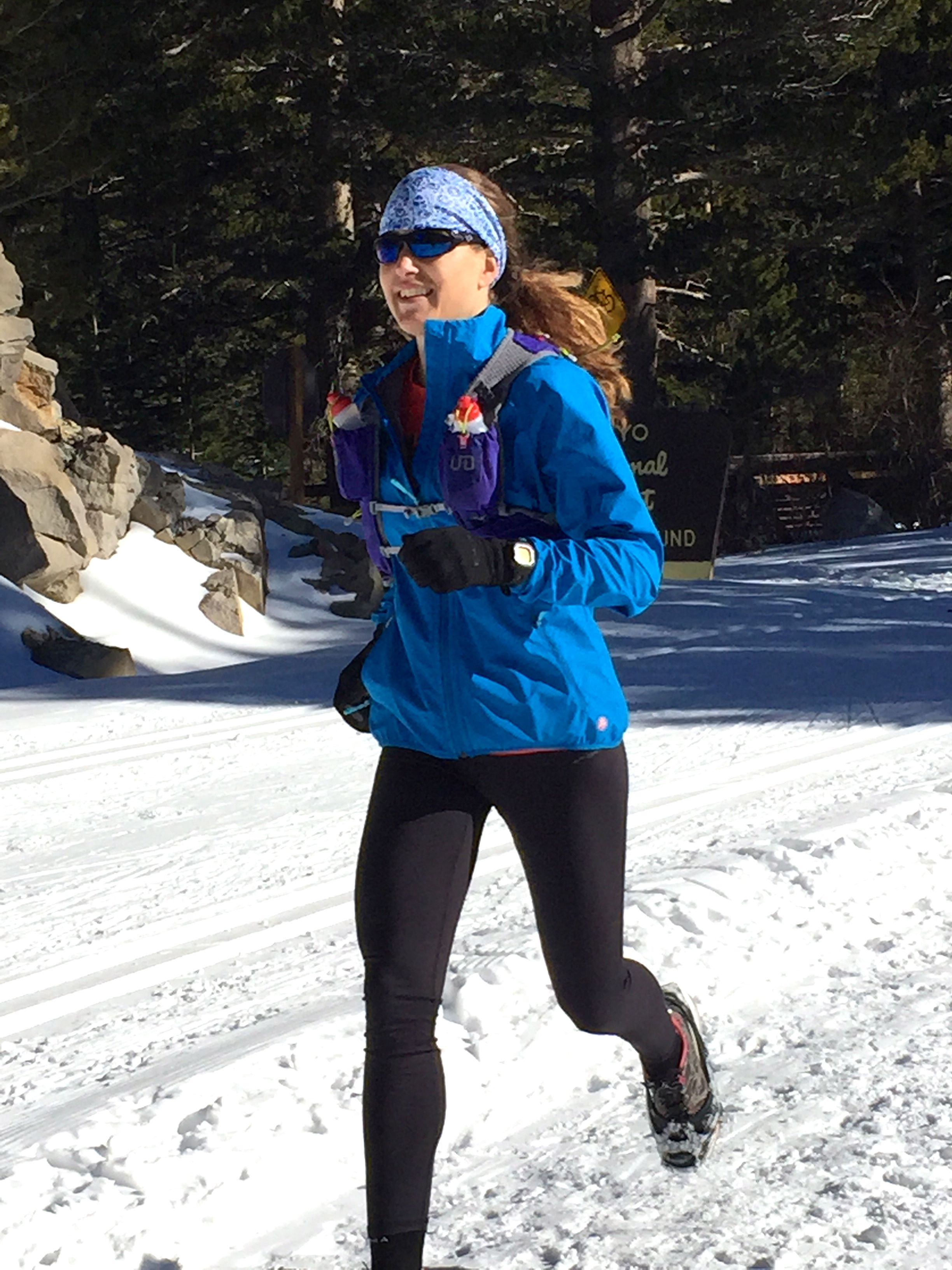 Me on a snowy run up Lake Mary Road above the town of Mammoth Lakes.