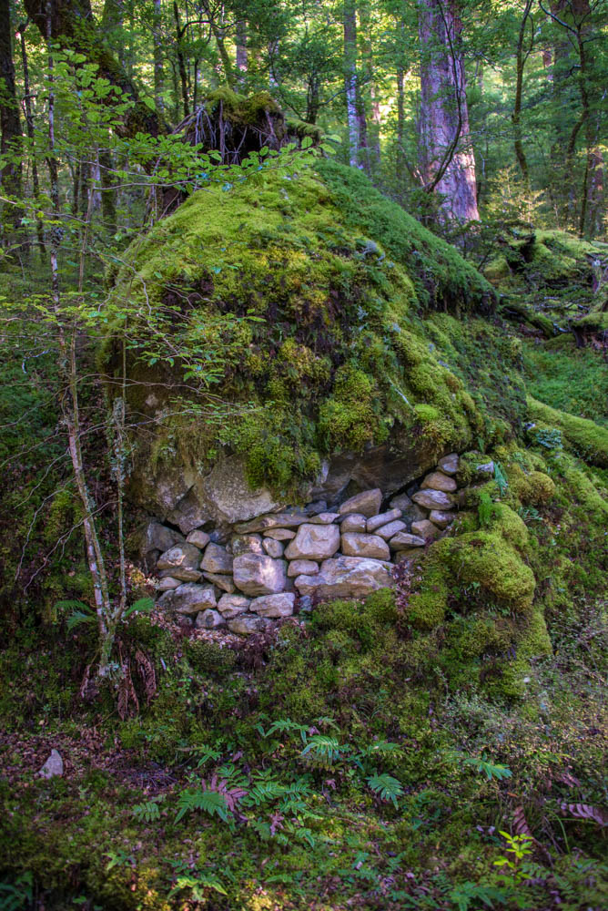 moss covered rocks to first hut