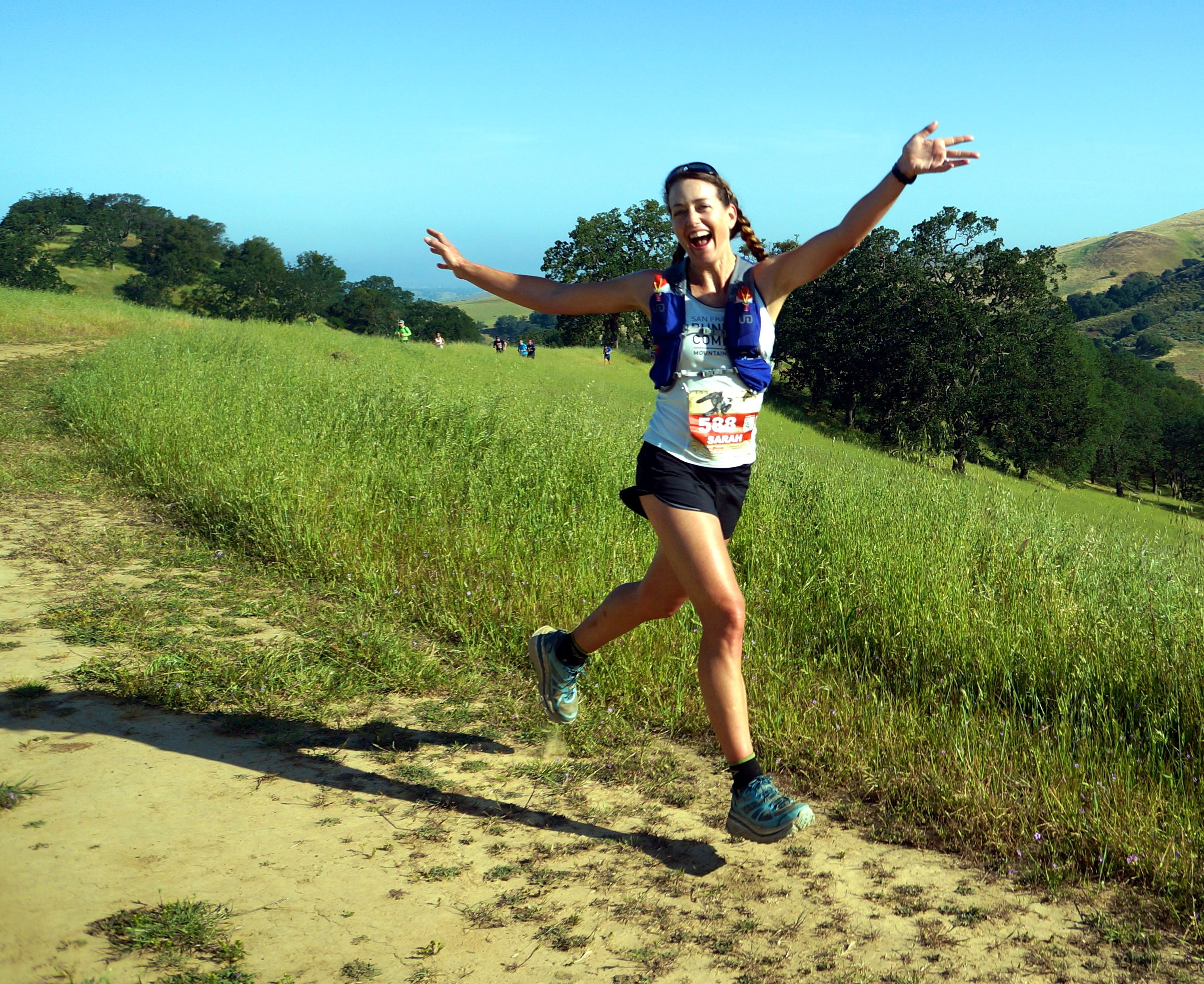 As you can see, I was in a good mood while racing the Diablo Trail Challenge half marathon. Photo by my buddy Nate Dunn, who was so nice to be out there.