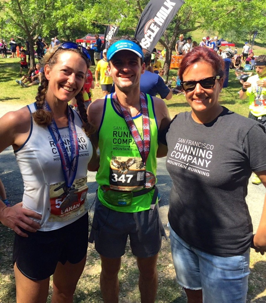 Me with 50K champ Brett Rivers of San Francisco Running Co and SFRC friend Lauri Abrahamson. I'm glad I wore my San Francisco Running Co singlet!