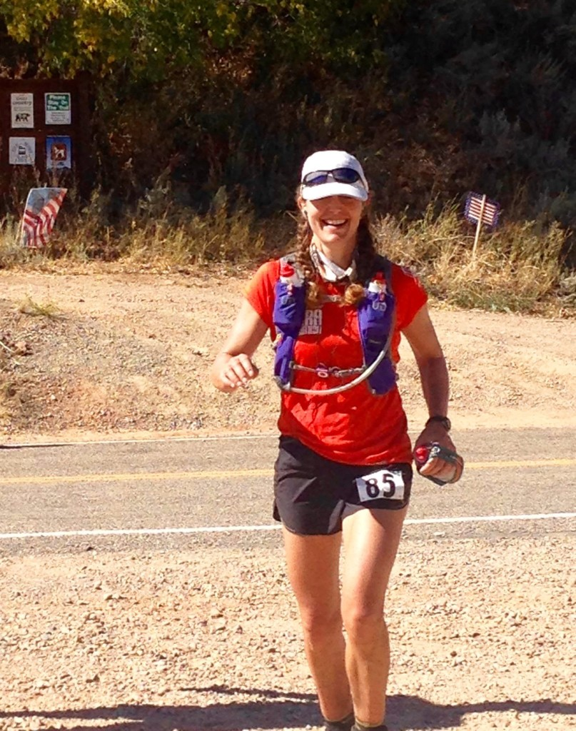 Jennifer took this picture of me coming into the Big Mountain Aid Station around Mile 39.