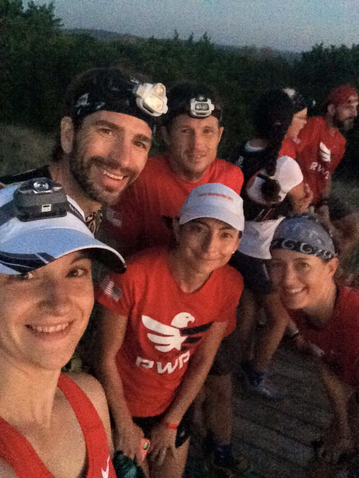 A shot from our last morning sunrise run with my bunkmate Amanda Mowry of Ohio, who served in the Army, and mentors Nathan Leeman, Jason Bryant and me, with Liza at the center.