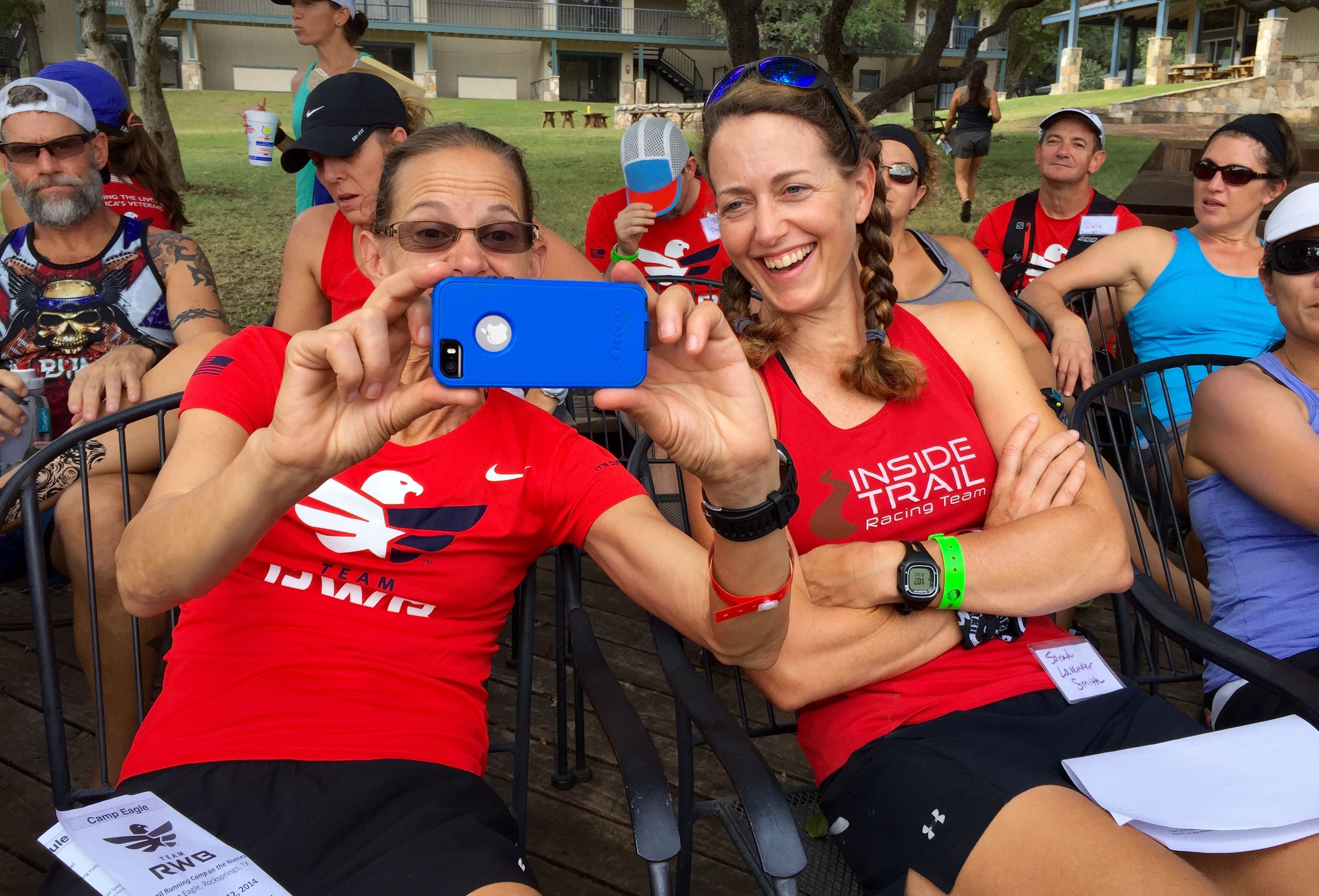 Me with Meghan Arboghast--one of my all-time favorite female ultrarunners, a top competitor at age 54--goofing off and taking a selfie.