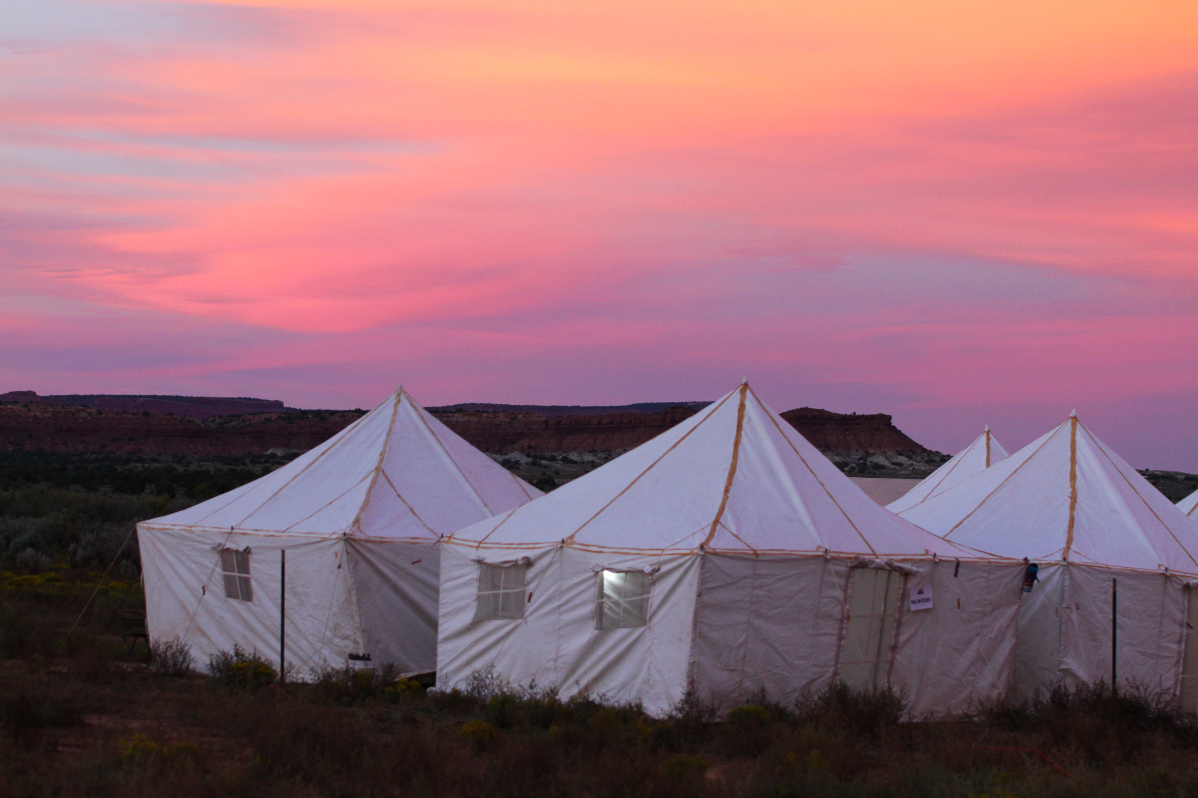 One of the campsites; the tents held eight participants each.