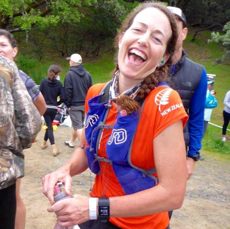 At the halfway point aid station. I have no idea now what was so funny.
